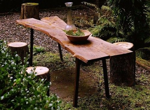 table and stumps: Outdoor Furniture, Salvaged Wood, Apartment Therapy, Rustic Tables, Wood Tables, Outdoor Tables, Picnics Tables, Wooden Tables, Rustic Wood