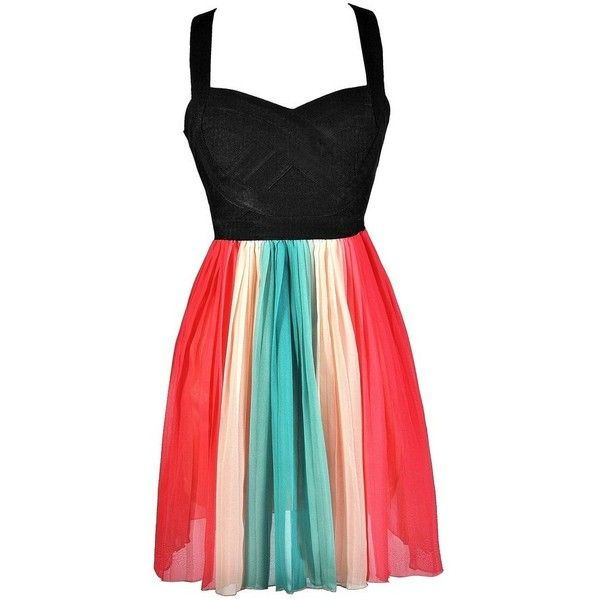 Lily Boutique Rainbow Dress, Cute Rainbow Dress, Rainbow Party Dress... ❤ liked on Polyvore featuring dresses, vestidos, lily dress and rainbow dress