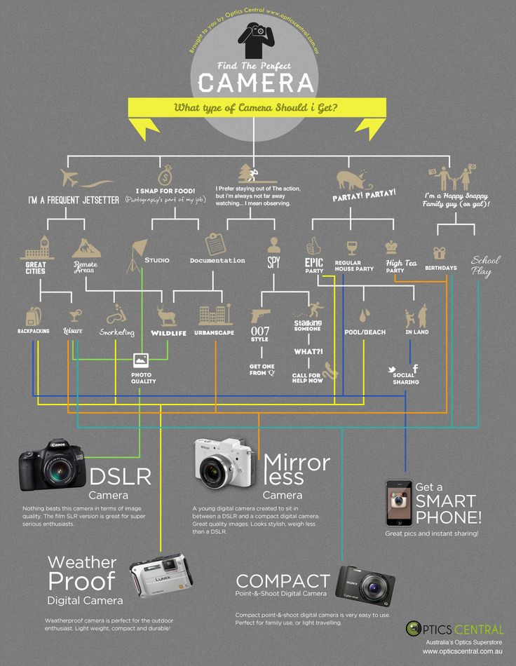 Flowchart: How To Pick The Perfect Camera    Optics Central has created a flowchart that would help you pick the perfect camera for yourself.     By answering a series of questions, the flowchart titled 'Find The Perfect Camera', will pinpoint a camera type that best suits your photographic needs.