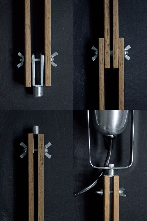 wood, metal joint http://manmadediy.com/users/chris/posts/2190-how-to-make-a-stylish-diy-wood-and-concrete-lamp