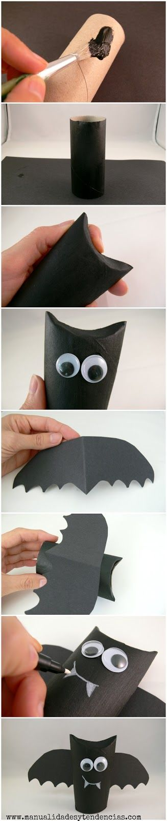 Halloween toilet paper roll craft:l bats and monsters