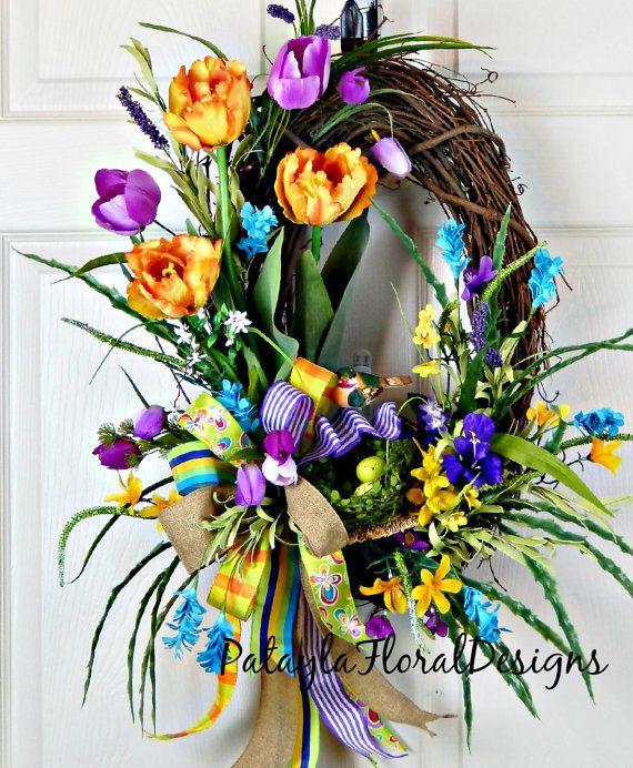 Spring Tulip Wreath Yellow Orange Purple by PataylaFloralDesigns