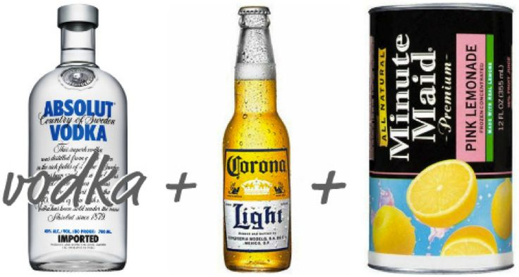 """""""Pink Panty Dropper"""" drink  For a party or tailgate - 24 cans light beer, 1/2 gallon vodka, && 4 cans pink lemonade concentrate && lemons for flavor."""