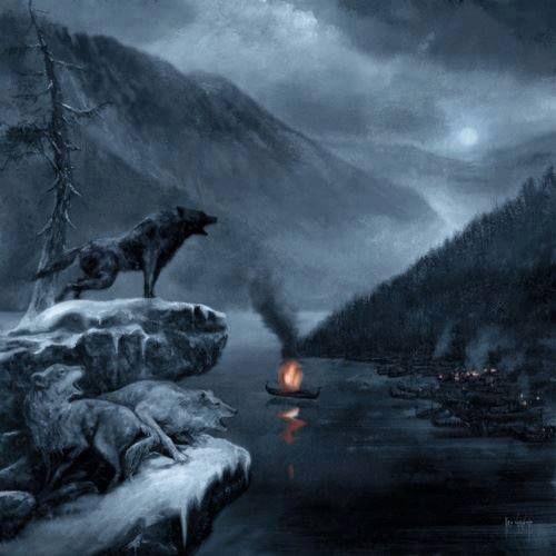 Viking boat burial in winter.