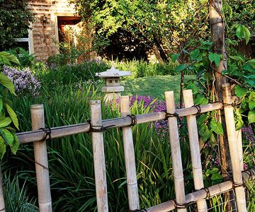 Make It Simple with Style...Lash bamboo poles together for a simple but effective fence with Asian style. Place the upright sections of bamboo on alternate sides of horizontal shoots to create fence sections. Secure the panels to larger bamboo posts for stability.
