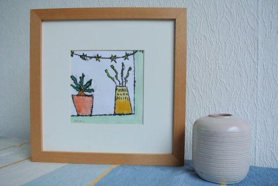 Monotype 'Plantjes'- vensterbank met plantjes en slinger, enkele druk, inclusief passe-partout en lijst