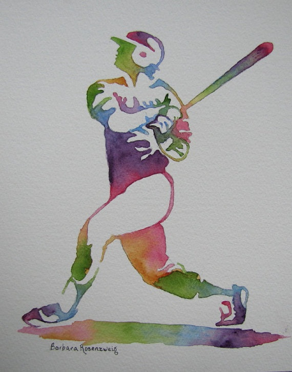 """Baseball Player""Watercolor Painting. A great piece of art for a baseball player or fan..."