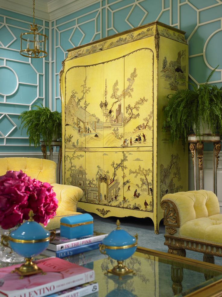Turquoise fretwork wallpaper, canary yellow Chinoisserie armoire, Palm Beach chic  Scott Snyder