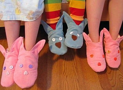 Bunny Slippers - featured  on http://issuu.com/mespetitesmainsmagazine/docs/mpmm_4_spring_2011?mode=embed