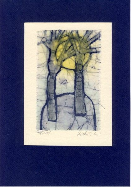 Two Trees and the Sun  Batik painting by marybatik on Etsy, $28.00