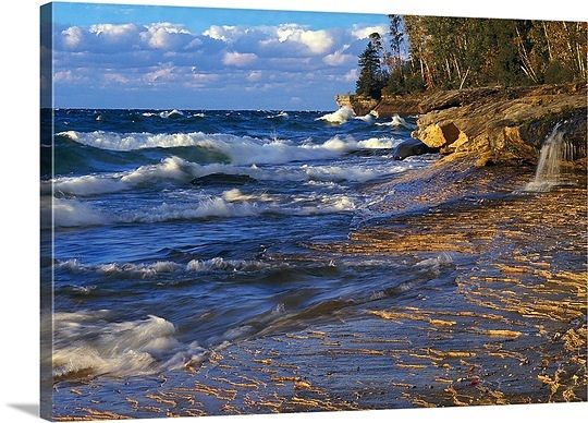 Waves along Lake Michigan shoreline, sunset light, Miners Beach, Michigan