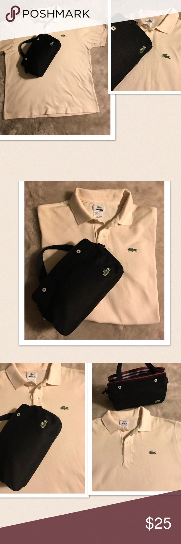 """Unisex Men's Women's Lacoste Polo Men's/ Unisex Lacoste Polo. Bag is available for sale. You will receive this Unisex polo by Lacoste. Size: 5. Pit-pit: 22.5"""", length: 26"""". Color: Tan/Cream. Gently washed & worn. Excellent condition. If this condition is not right for you do not purchase. Lacoste Shirts Polos"""