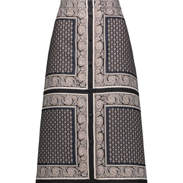 Altuzarra Balthazar jacquard skirt ($490) ❤ liked on Polyvore featuring skirts, multi, multi color skirt, multi colored skirt, below knee skirts, below the knee skirts and colorful skirts