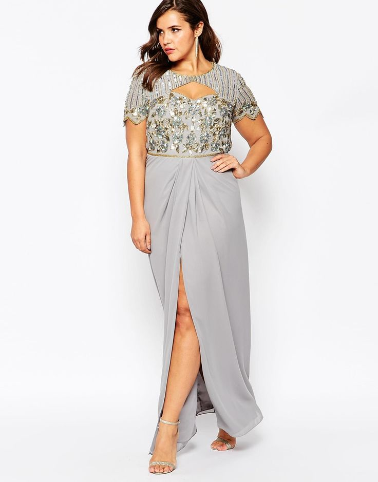 Image 4 of Virgos Lounge Plus Helena Embellished Sweetheart Top Maxi Dress With Thigh Split