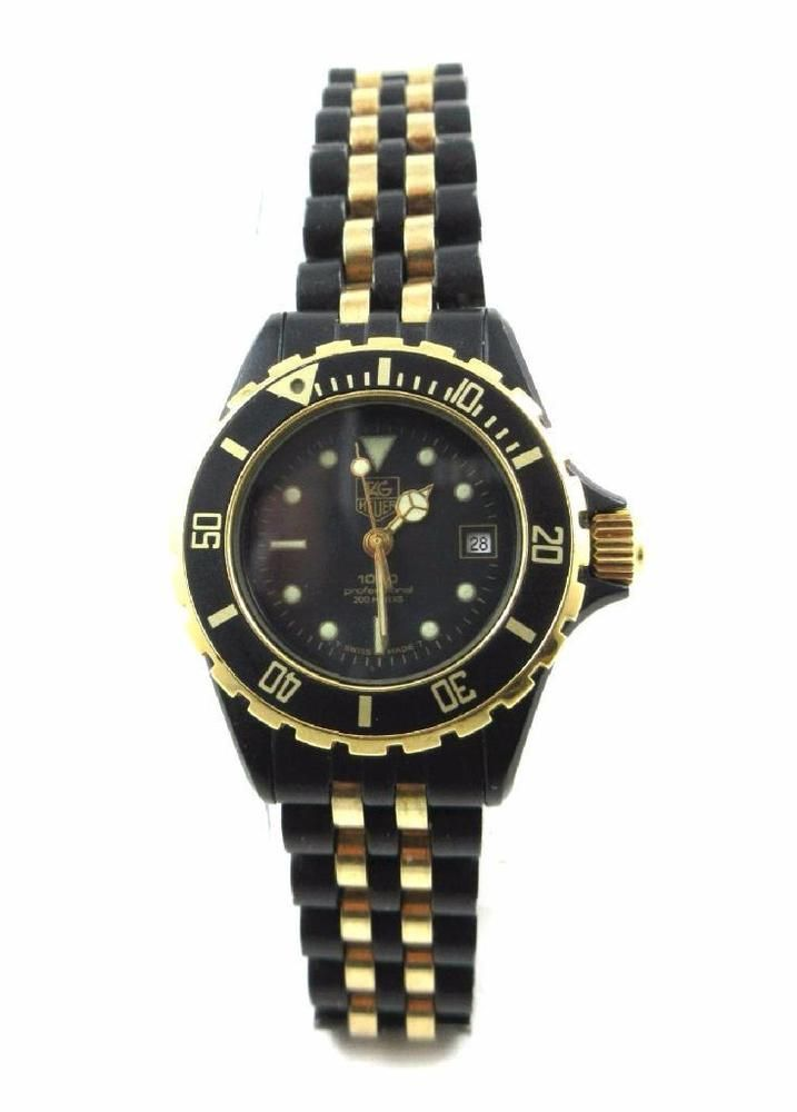TAG HEUER VINTAGE 1000 PROFESSIONAL BLACK & GOLD DIVER WATCH WITH ORIGINAL BAND  | eBay