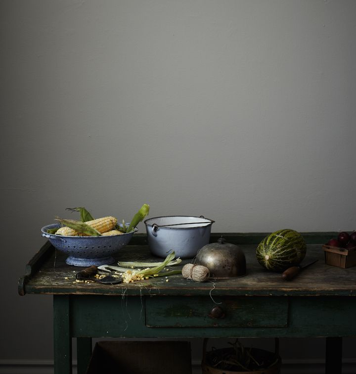 Awesome work  table!  The top reminds me of a giant 'noodle board'...Love the distess and patina!