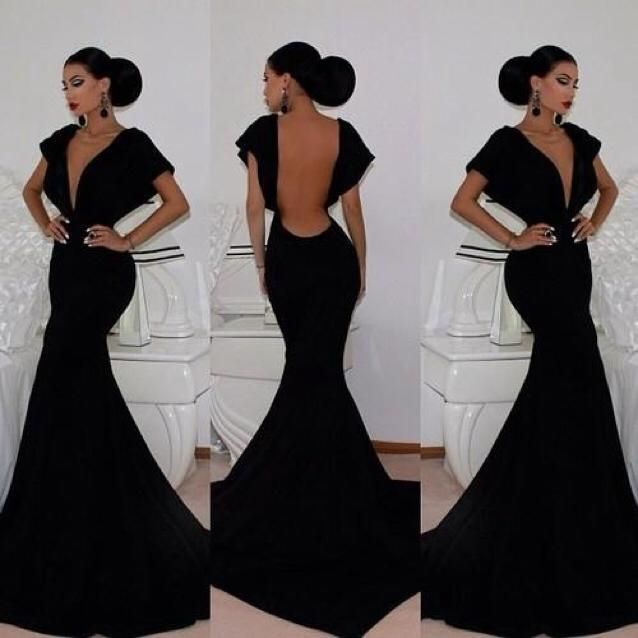 $129--Hot Sale Prom Dresses Black Deep V-neck Backless Cap Sleeves Mermaid Spandex Floor Length Sexy Party Gowns