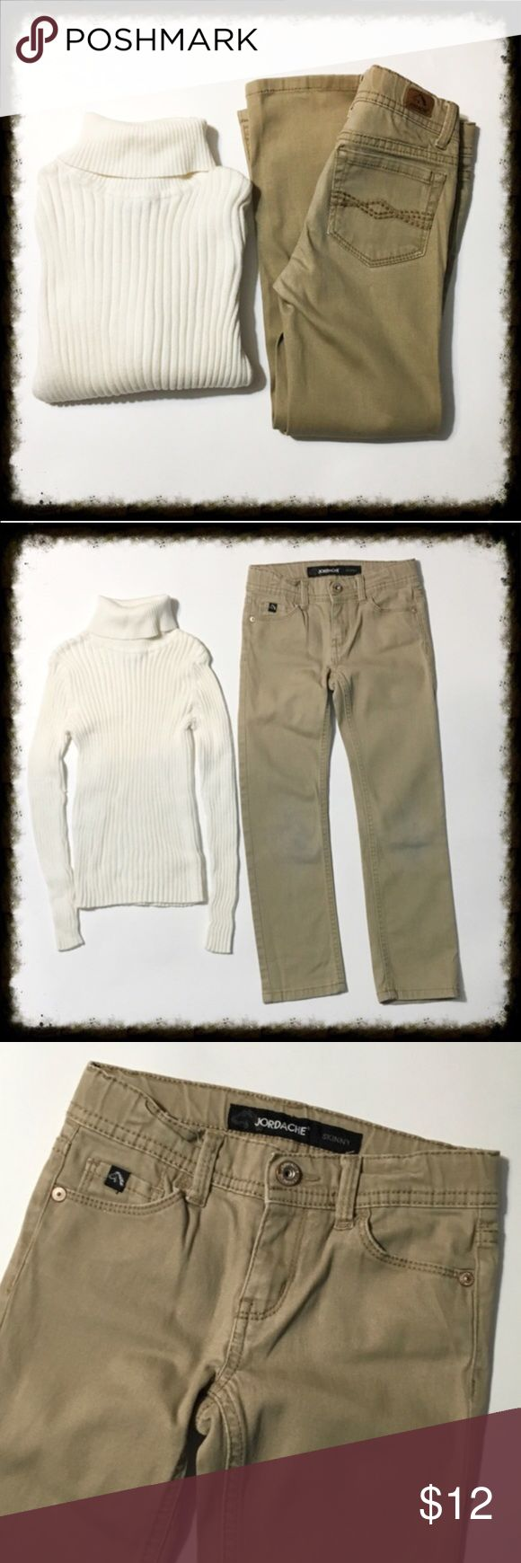 Ribbed Turtleneck & Khaki Skinny Jeans Girl's 6/6X Jeans are a size 6 slim. They have adjustable tabs in the waist. Brand is Jordache. They do show some wear in the knees with light stains. The turtleneck sweater is from Maggie and Zoe. It is 100% cotton. Size large 6X. Ribbed knit and ivory in color. In good condition with no stains Matching Sets
