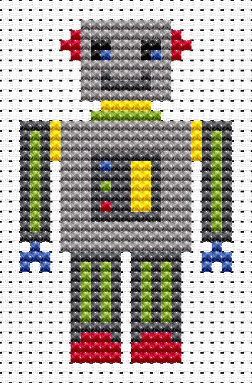Sew Simple Robot cross stitch kit from Fat Cat Cross Stitch Finished size approx 4.8cm x 7.8cm. Kit contains 11ct white aida fabric, stranded embroidery cotton, needle, colour chart and instructions. A brand new kit will be sent directly to you by Fat Cat Cross Stitch - usually within 2-4 working days © Fat Cat Cross Stitch
