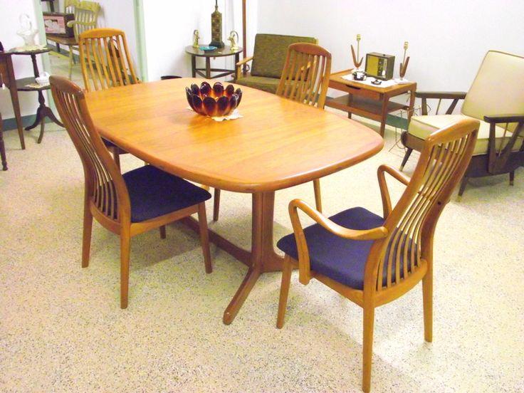 Vintage Mid Century Modern Dyrlund Danish Teak Dining Set Manchester NH Antique Store