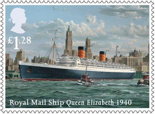 Merchant Navy stamp - £1.28 - Queen Elizabeth, 1940.