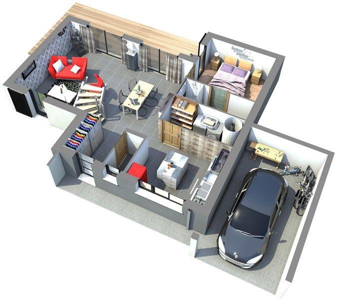 Maison gamme les actuelles mod le tangram vue for Modele plan maison 3d