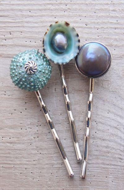 Teal Sea Urchin Bobby Hair Pins