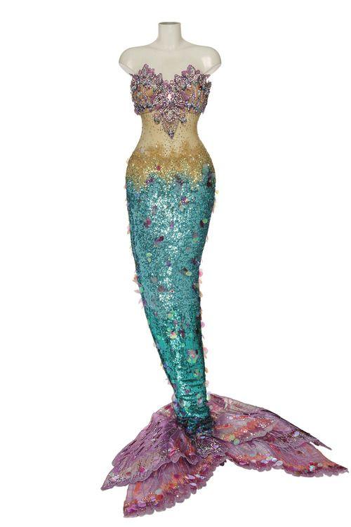 Katy Perry's mermaid costume embellished with Swarovski crystals.