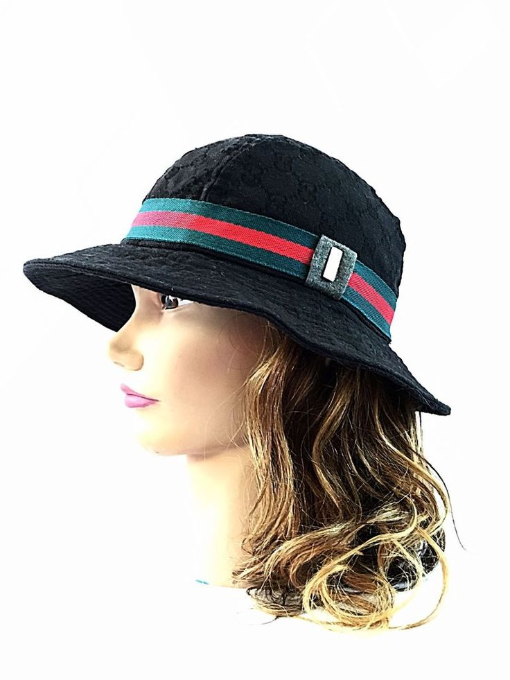Gucci Bucket Hat Signature Logo Gold Tone Black Red Green Sz s Nice | eBay