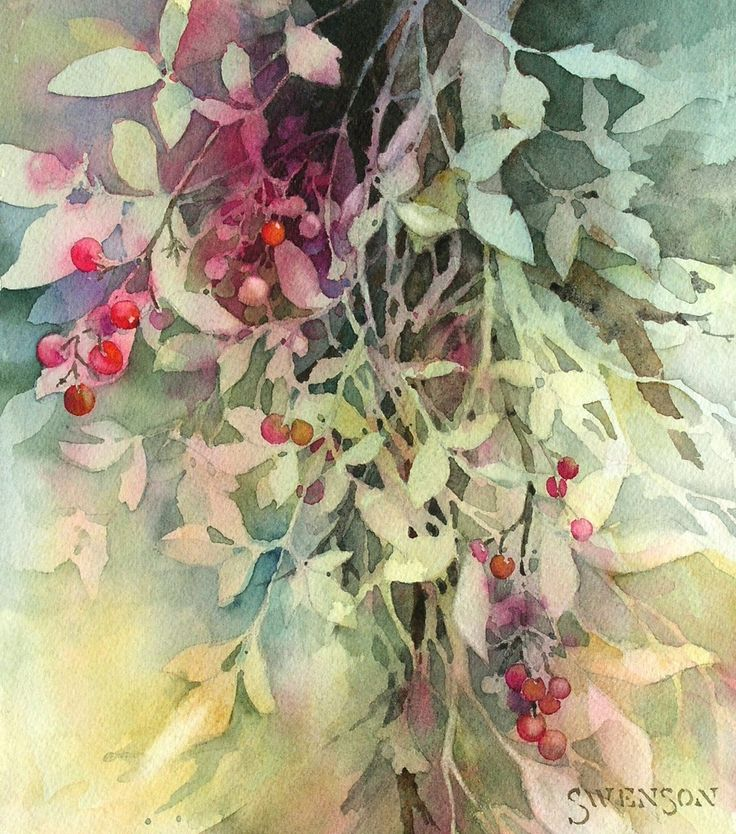 In Leaves & Berries (above; watercolor on paper, 12×10) Brenda Swenson gradually chipped away at the lights of the paper to reveal her subject. In this way, the use of a negative painting technique brought about perfectly positive, nuanced results.