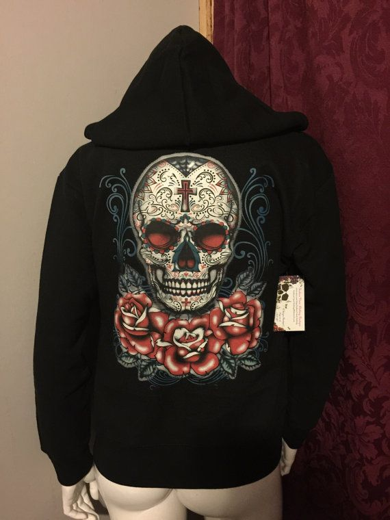 Sugar Skull with Roses Day of the Dead Zip by FashionVixenClothing