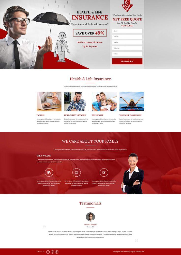 Lead gen html5 healthlife insurance landing page design