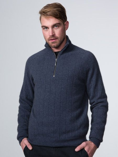 Possumdown Wide Rib Zip Collar Jumper from Possumdown