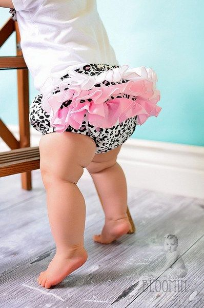 Baby Ruffle Diaper Cover Ruffle Bloomer Pants Panty - Pink Leopard. $25.00, via Etsy.