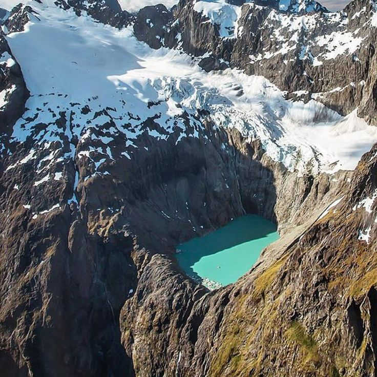 """New Zealand on Instagram: """"The Korako Glacier in the Milford Sound with terminal lake. A challenging hike for the robust otherwise a comfortable helicopter will reward you this awesome view. Pic by @amongmountainsandlakes"""""""