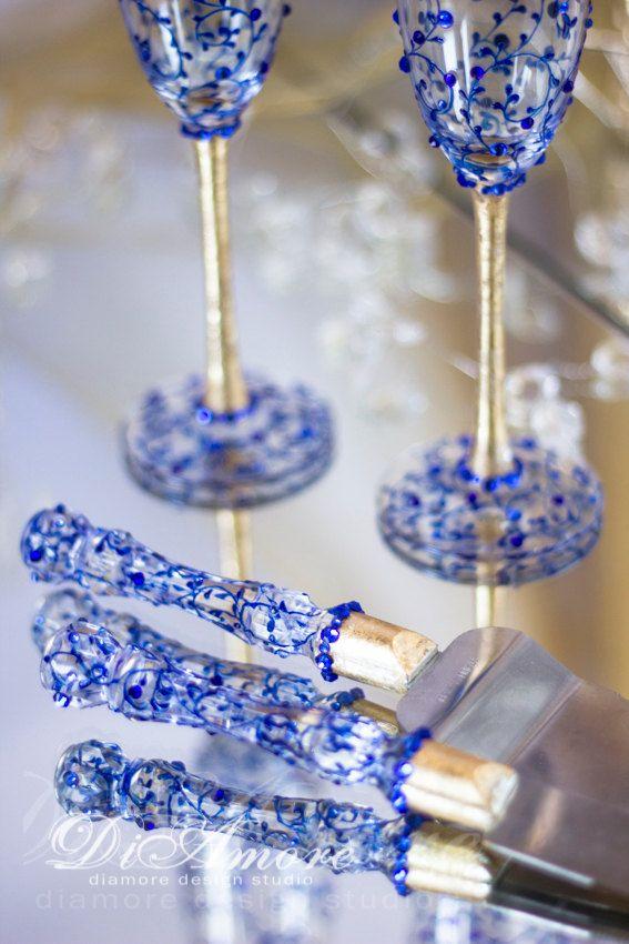 Royal blue and Gold wedding сhampagne flutes & set от DiAmoreDS