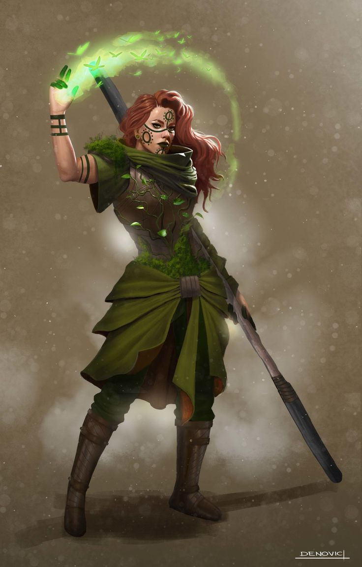Isara by Ivona Denovic on ArtStation.  Designs for  DnD campaign druid character.