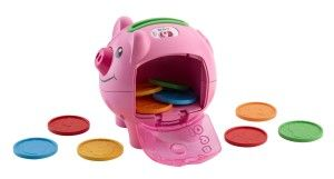 Laugh & Learn Smart Stages Piggy Bank This piggy bank develops fine motor skills, he or she learns about colors and counting.  http://awsomegadgetsandtoysforgirlsandboys.com/fisher-price-toys-12-24-months/ Laugh & Learn Smart Stages Piggy Bank