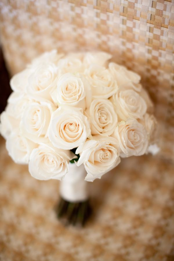 White Rose Bouquet. White ribbon for my bouquet and blush pink ribbon for bridesmaid bouquets