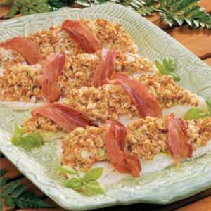 Stuffed Walleye - bacon & stuffing on seafood (substituting with Tilapia also delicious)