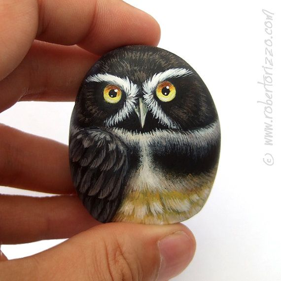 Hand Painted Spectacled Owl Rock! A unique Piece of Art for collection and a great Gift Idea for all of you, owl lovers!