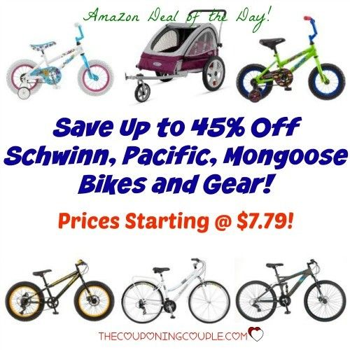 Today Only! Hot Buy on Schwinn, Pacific and Mongoose Bikes and Gear! Prices starting at $7.79 for gear! $47.99 for Bikes! What a AWESOME gift idea for kids and adults!  Click the link below to get all of the details ► http://www.thecouponingcouple.com/save-up-to-45-on-schwinn-pacific-mongoose-bikes-and-gear-as-low-as-7-79/ #Coupons #Couponing #CouponCommunity  Visit us at http://www.thecouponingcouple.com for more great posts!