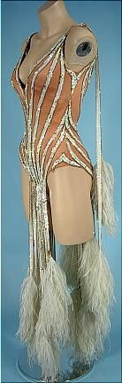 1970's MITZI GAYNOR BOB MACKIE - Constructed by Elizabeth Courtney Dance Costume of Sequins and Feathers