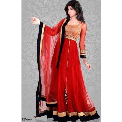 Craftsvilla Com Pashmina Suits: Long Rose Red Gherdar Suit