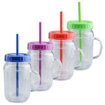 Al por mayor - Tazas con forma de frasco de conservas, plástico, con tapa y sorbete, 16.5 oz en DollarTree.com