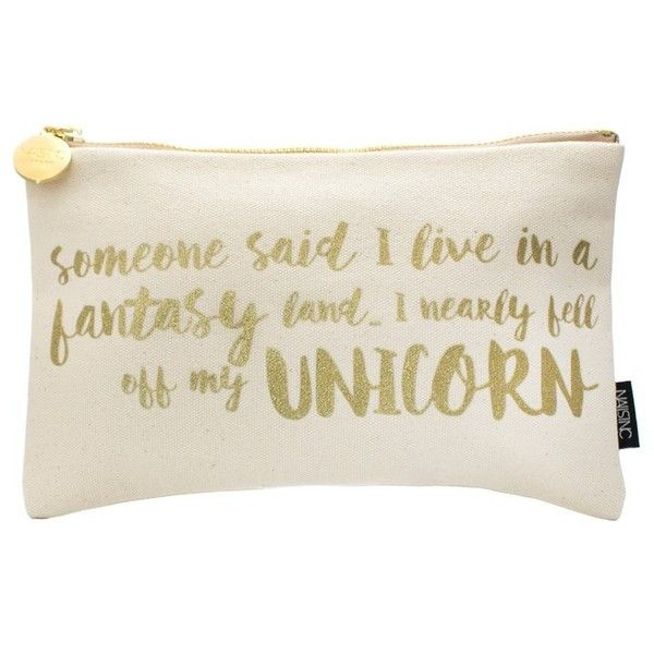 Nails Inc Unicorn Slogan Cosmetic Bag (£12) ❤ liked on Polyvore featuring beauty products, beauty accessories, bags & cases, travel kit, wash bag, toiletry kits, cosmetic bags & cases and cosmetic purse