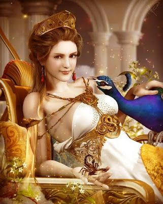 "Hera - Greek Goddess, Zeus' wife known for being jealous of his mistresses. Her sacred animals were the cow and the peacock. One of her epithets was ""cow-eyed."" She was worshipped throughout Greece in temples and homes. Hera's themes are love, romance, forgiveness and humor.  Her symbols are oak, myrrh and poppies. Hera rules the earth, its people and the hearts of those people."