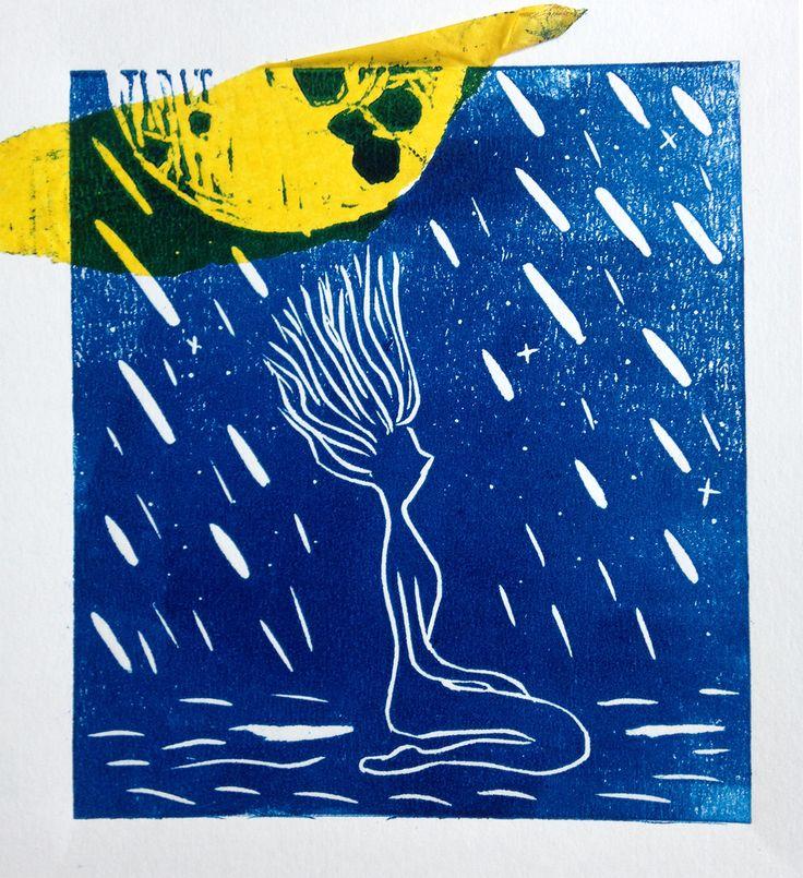 La luna y las mujeres.  por Mari Abreu  #xilografia #xilogravura #xolography #gravado #grabado #ilustração #artefeminina #illustration #grlpwr #alua #laluna #mulheres #mujeres