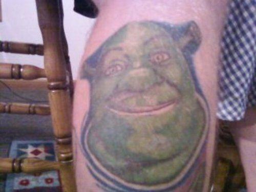 Shrek Tattoo the start of a right leg sleeve by Tony Lloyd of Bird's ...