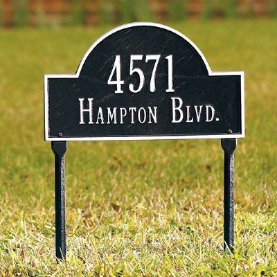 Arched Address Plaques - Grandin Road by Grandin Road. $89.00. The Personalized Arched House Plaque ensures you can proclaim your address in raised characters on a background of your choice. Harsh weather and passing years will have virtually no effect on the deep, rich colors. Sand-cast aluminum with baked enamel finish retains its like-new appearance even in blistering sun. Made in USA by Whitehall. Personalized items cannot be returned. Made in USA.